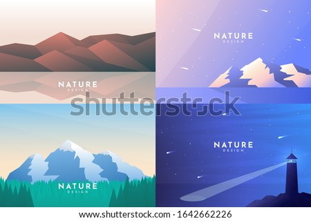 set of 4 nature backgrounds