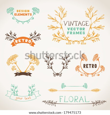 Set of nature design elements Vintage hand-drawn frames text dividers and labels of branches and leaves
