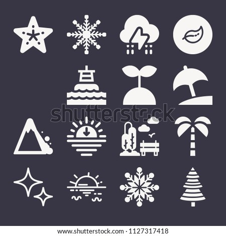 set of 15 nature filled icons
