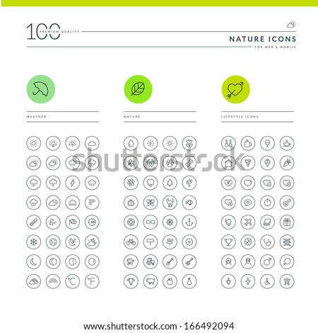 Set of nature icons for web and mobile. Icons for weather, nature and lifestyle.