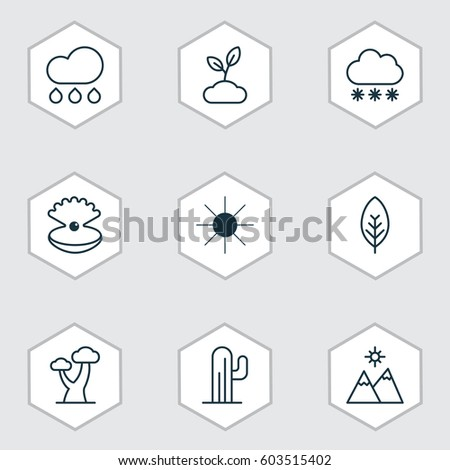 set of 9 nature icons includes
