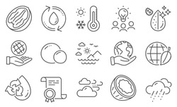 Set of Nature icons, such as Dirty water, Weather thermometer. Diploma, ideas, save planet. Coconut, Refill water, Rainy weather. Pecan nut, Environment day, Peas. Vector
