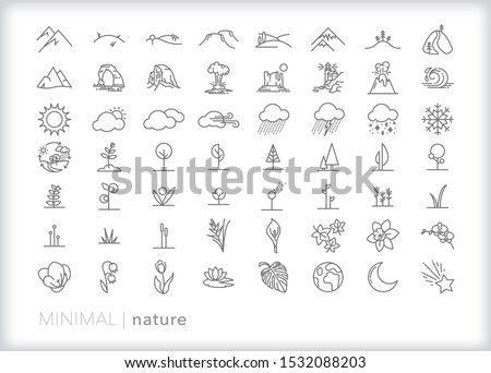 set of 56 nature line icons of