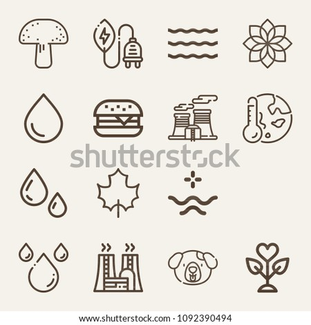 set of 15 nature outline icons
