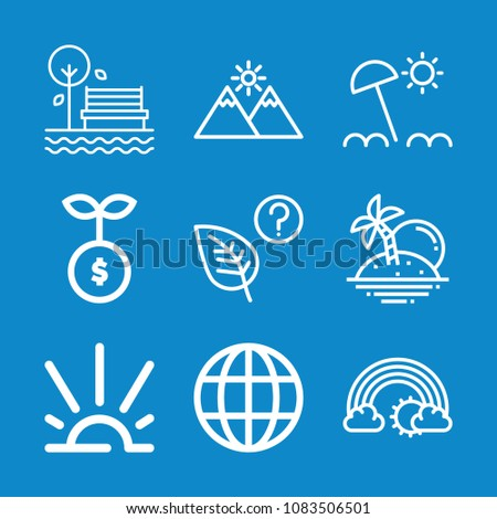 set of 9 nature outline icons