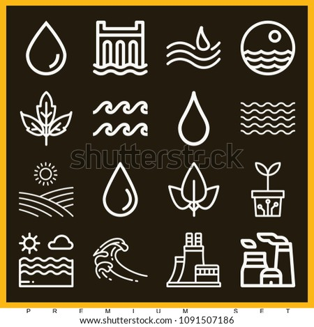 set of 16 nature outline icons