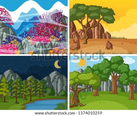 Set of nature scene illustration