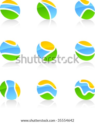 Set of nature vector icons such logos.