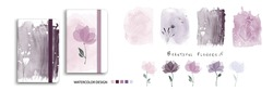 Set of nature watercolor art with beautiful flowers