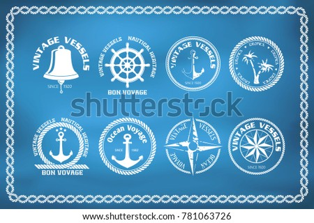Set of nautical and marine badges and signs with windrose, anchor and steering wheel