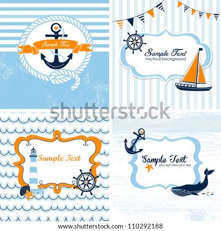 Set of 4 Nautical cards