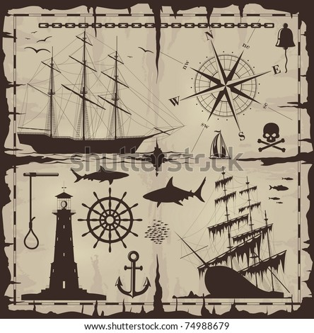 Set of nautical design elements - vector EPS 8. No trace. All images could be easy modified.