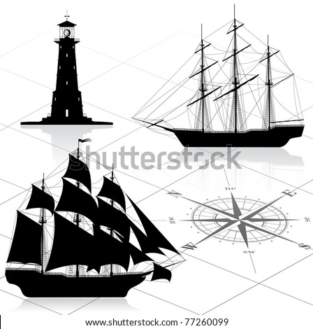 Set of nautical design elements.  Vector illustration. All images could be easy modified.