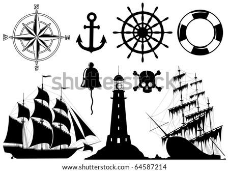Set of Nautical Icons isolated on white background - vector