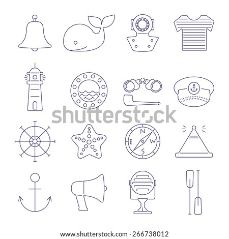 set of nautical line icons