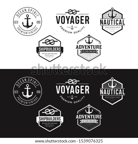 Set Of Nautical Logos, Badges And Labels  Cliparts, Vectors, And Stock Illustration . Vintage Nautical Logo