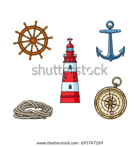 Set of nautical objects - lighthouse, anchor, compass, rope and steering wheel, cartoon vector illustration isolated on white background. Cartoon set of lighthouse, anchor, compass, rope, ship wheel