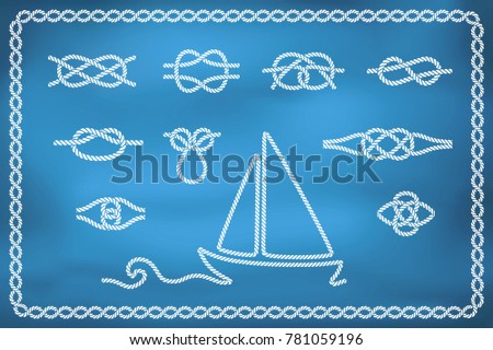 Set of nautical rope knots in different shapes and rope ship