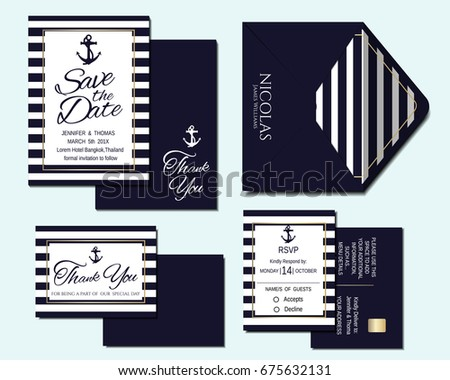 Set Of Nautical Wedding Invitation Card And Marine Banners Elegant Templates In White Navy