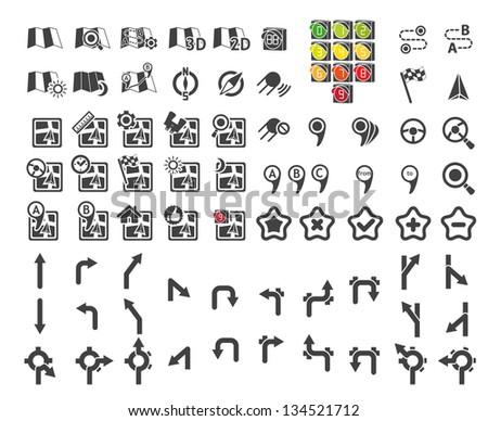 Set of navigational icons. Vector illustration