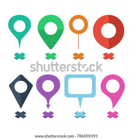 Set of navigational markers of different shapes. Navigation pins, navigational mark, navigation points. Vector illustration in a flat style.