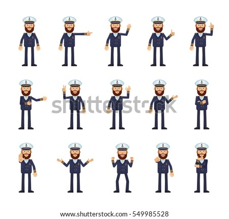 Set of navy captain characters showing different hand gestures. Cheerful skipper showing victory sign, thumb up, this way, pointing, greeting and other hand gestures. Simple vector illustration