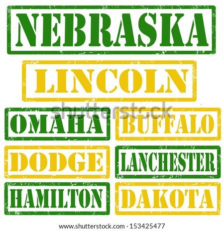 set of nebraska cities stamps