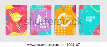 Set of neo memphis style covers. Abstract shapes compositions. background modern template design for web, cool background. Eps10