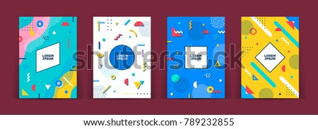 Set of neo memphis style covers. Collection of cool bright covers. Abstract shapes compositions. Vector.