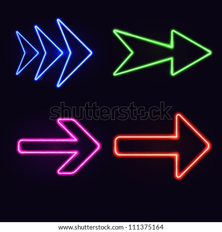 Set of neon arrows on black background. Vector illustration.