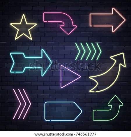 Set of neon frame star arrows pointers signs light electric banners glowing on black brick wall background, vector illustration