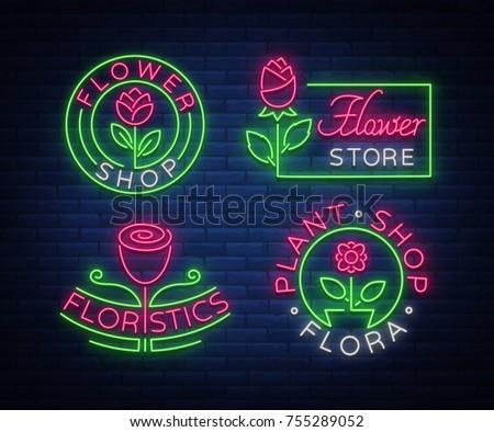 set of neon logos flower shop