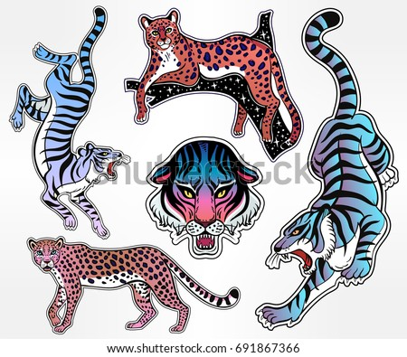Set of Neon pop wild Cat designs. Flash tattoo style patches or elements. Traditional stickers, comic pins. Pop art items. Vector collection, stikers kit. Tiger, Panther, Snow Leopard, Cheetah, Puma.