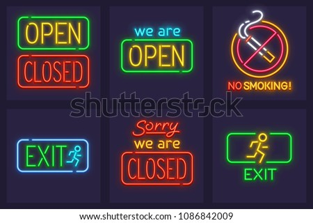 Set of neon service signs for nighttime institutions. Open and closed sign, exit and No smoking prohibiting icon. EPS10 vector illustration.