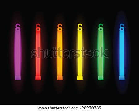 Set of neon shiny rave party glow sticks - vector illustration.
