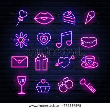 set of neon valentines