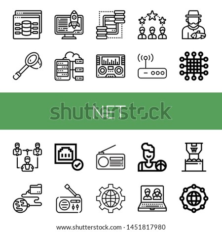 Set of net icons such as Web, Net, Server, Servers, Radio, Networking, Router, Fisherman, Network, Global network, Connected, Internet, Basketball, Online, Worldwide , net