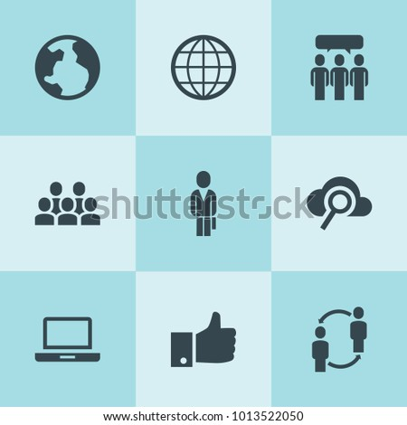 Set of 9 network filled icons such as businessman, group, globe, like, laptop, search cloud, communication