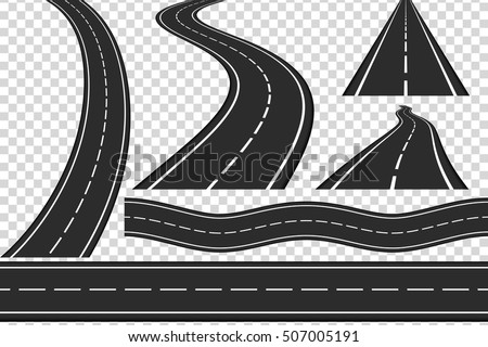 Set of new asphalt roads, vertical and horizontal roads, highway, vector eps10 illustration