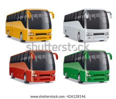 set of new modern comfortable city buses on the road, no people, vector illustration in different colors