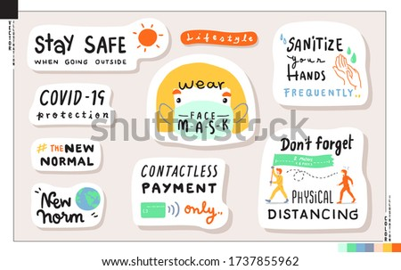 Set of New normal lifestyle lettering stickers. Concept of new lifestyle when go out home.   Vector illustration for web, print, scrapbook, card,ect. Health care, Coronavirus COVID-19 protection.