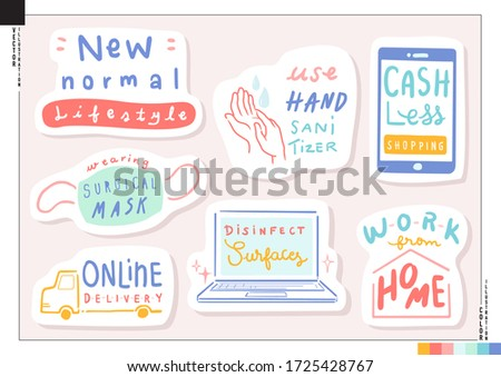 Set of New normal lifestyle lettering stickers. Vector illustration for web, print, scrapbook, card,ect. Health care. Global viral pandemic. Coronavirus COVID-19
