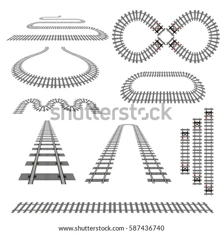 Set of new railroad curves, perspectives, turns, twists, circles and elements, vector illustration of rail transport path motives isolated on white. Simple modern railroad vector collection.