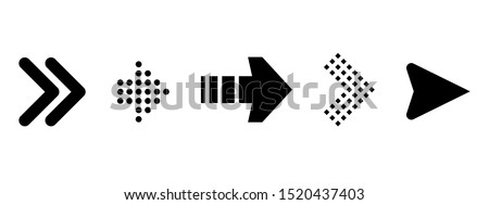Set of new style black vector arrows isolated on white. Arrow vector icon. Arrows vector illustration collection
