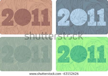 set of New 2011 year bizarre background