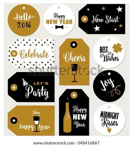Set of New Year gift tags typographic vector design with illustrations and wishes. Holiday printable badges