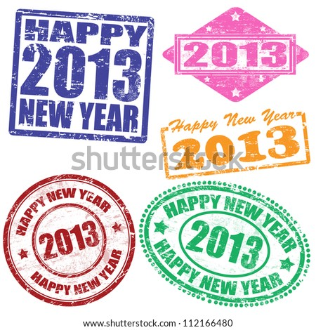 Set of 2013 new year grunge stamps, vector illustration