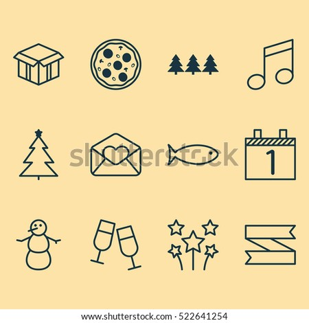 set of 12 new year icons can