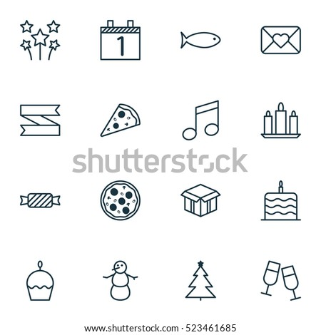Set Of 16 New Year Icons. Can Be Used For Web, Mobile, UI And Infographic Design. Includes Elements Such As Blank, Music, Piece And More.