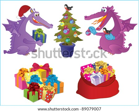 Set of new-year images. Two cute dragons decorate a fir-tree. Presents. Sack with presents